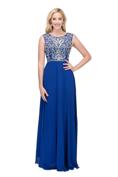 Long Sleeveless Chiffon Dress with Beaded Bodice by Star Box 6111-Long Formal Dresses-ABC Fashion