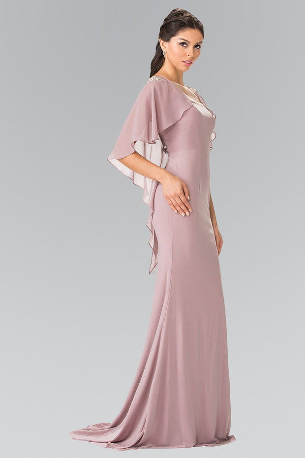 Long Sleeveless Dress with Back Caplet by Elizabeth K GL2254-Long Formal Dresses-ABC Fashion