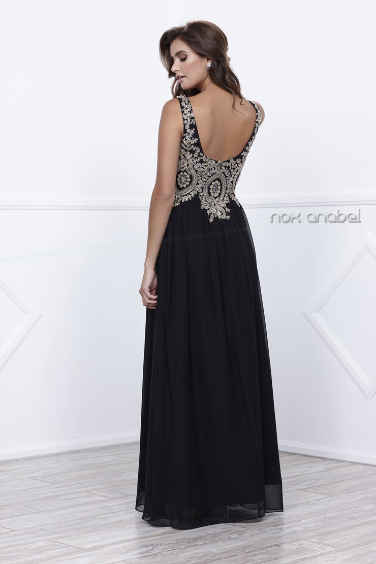 Long Sleeveless Dress with Beaded Embroidery by Nox Anabel 8343-Long Formal Dresses-ABC Fashion