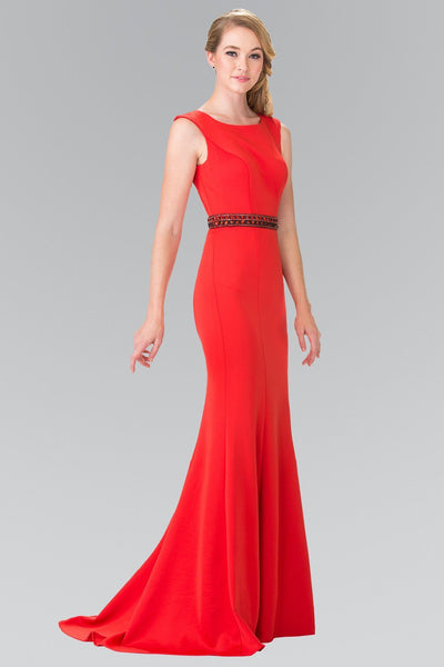 Long Sleeveless Dress with Beaded Waist by Elizabeth K GL2306-Long Formal Dresses-ABC Fashion