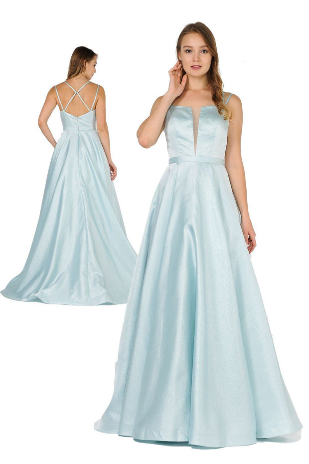 Long Sleeveless Dress with Crisscross Back by Poly USA 8448-Long Formal Dresses-ABC Fashion