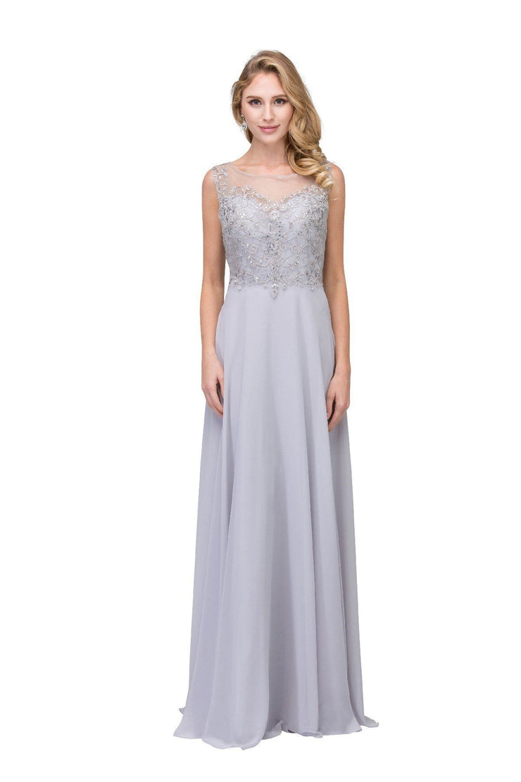 Long Sleeveless Dress with Embroidered Illusion Bodice by Star Box 17309-Long Formal Dresses-ABC Fashion