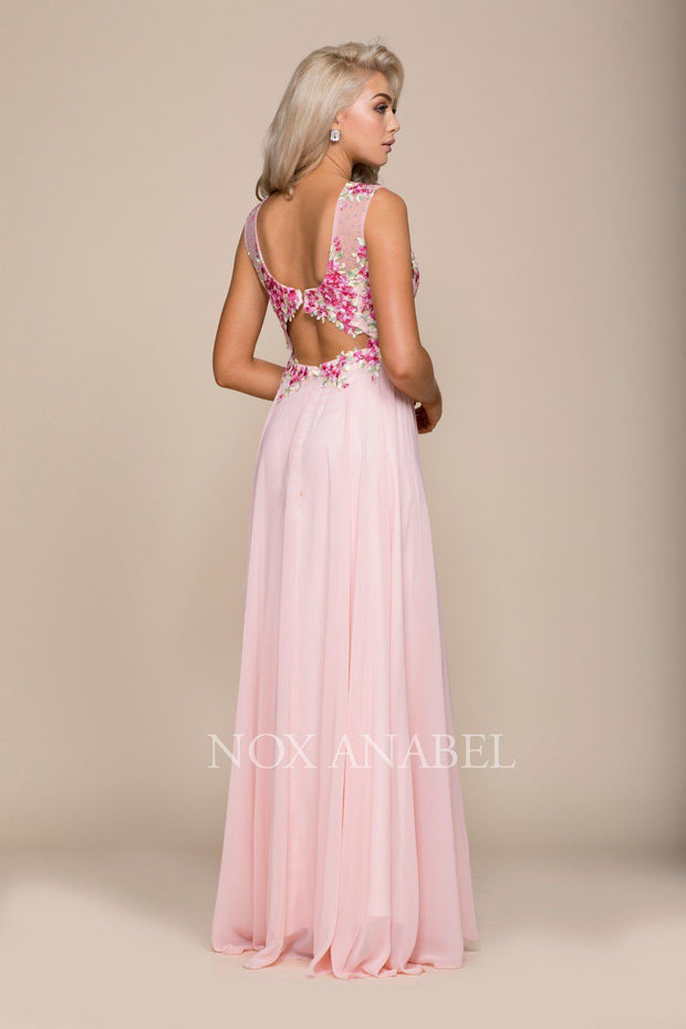 Long Sleeveless Dress with Floral Embroidery by Nox Anabel 8306-Long Formal Dresses-ABC Fashion