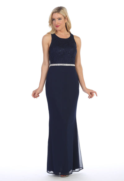 Long Sleeveless Dress with Floral Lace Bodice by Celavie 6253-L-Long Formal Dresses-ABC Fashion