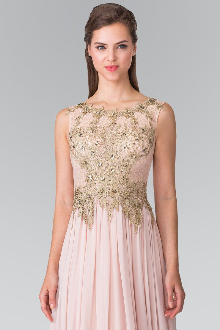 Long Sleeveless Dress with Floral Lace Top by Elizabeth K GL2288-Long Formal Dresses-ABC Fashion