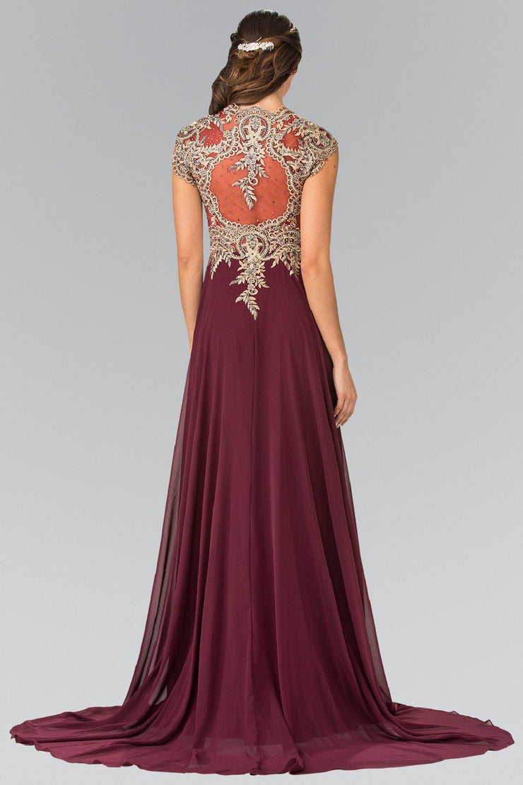 Long Sleeveless Dress with Gold Applique by Elizabeth K GL2229-Long Formal Dresses-ABC Fashion