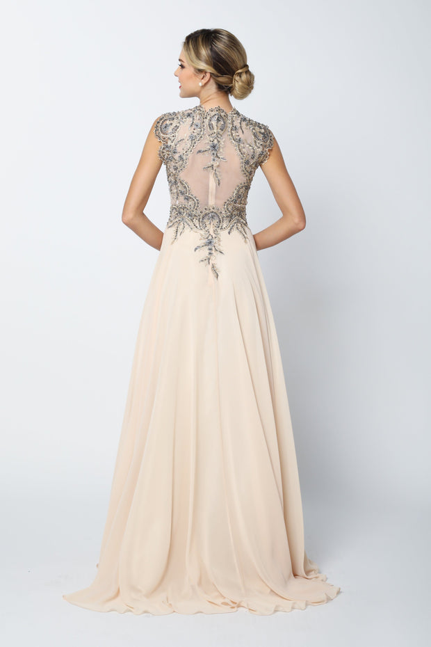 Long Sleeveless Dress with Lace Applique Bodice by Juliet 653-Long Formal Dresses-ABC Fashion