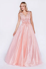 Long Sleeveless Dress with Lace Bodice by Cinderella Divine 9178-Long Formal Dresses-ABC Fashion