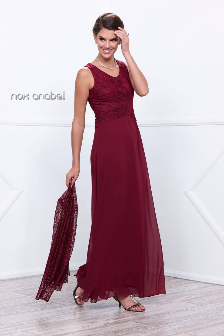 Long Sleeveless Dress with Lace Jacket by Nox Anabel 5138-Long Formal Dresses-ABC Fashion