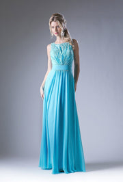 Long Sleeveless Dress with Lace Top by Cinderella Divine 1019-Long Formal Dresses-ABC Fashion