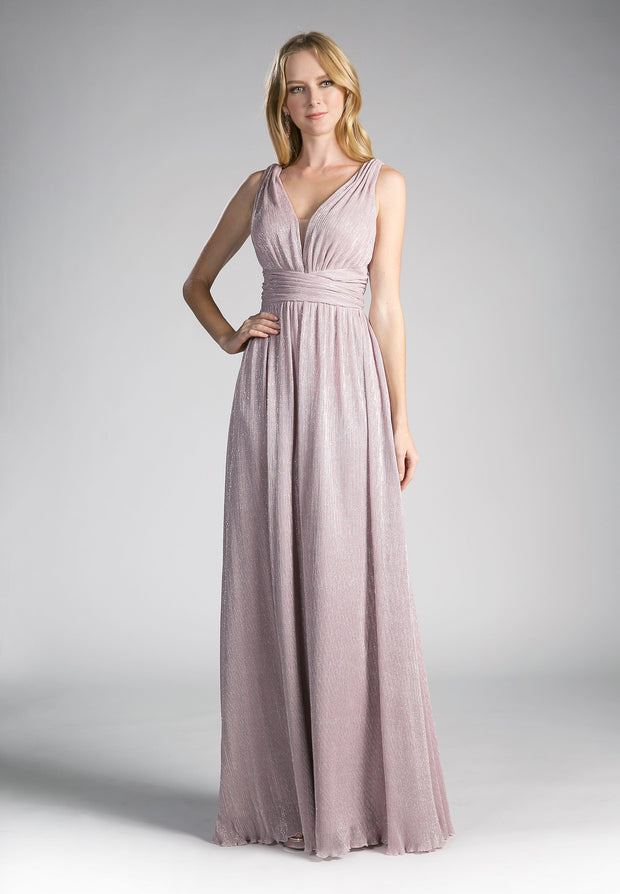 Long Sleeveless Dress with Ruched V-Neck by Cinderella Divine 8276-Long Formal Dresses-ABC Fashion