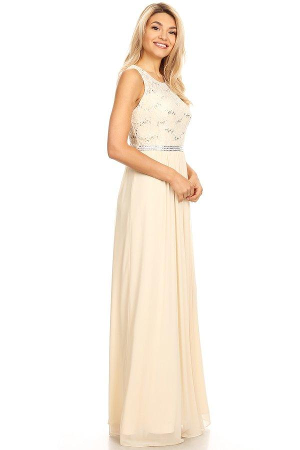 Long Sleeveless Dress with Sequin Lace Bodice by Celavie 6344L-Long Formal Dresses-ABC Fashion