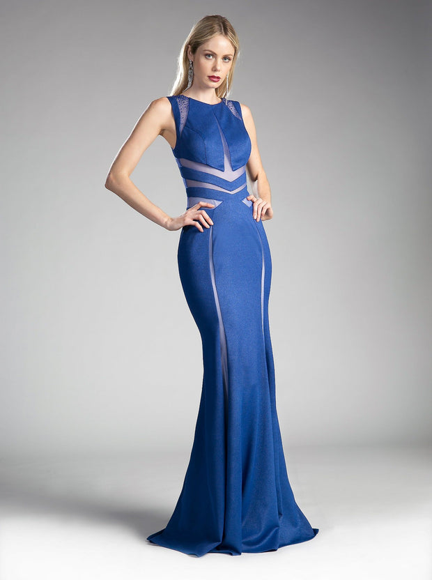Long Sleeveless Dress with Sheer Cut Outs by Cinderella Divine 84792-Long Formal Dresses-ABC Fashion