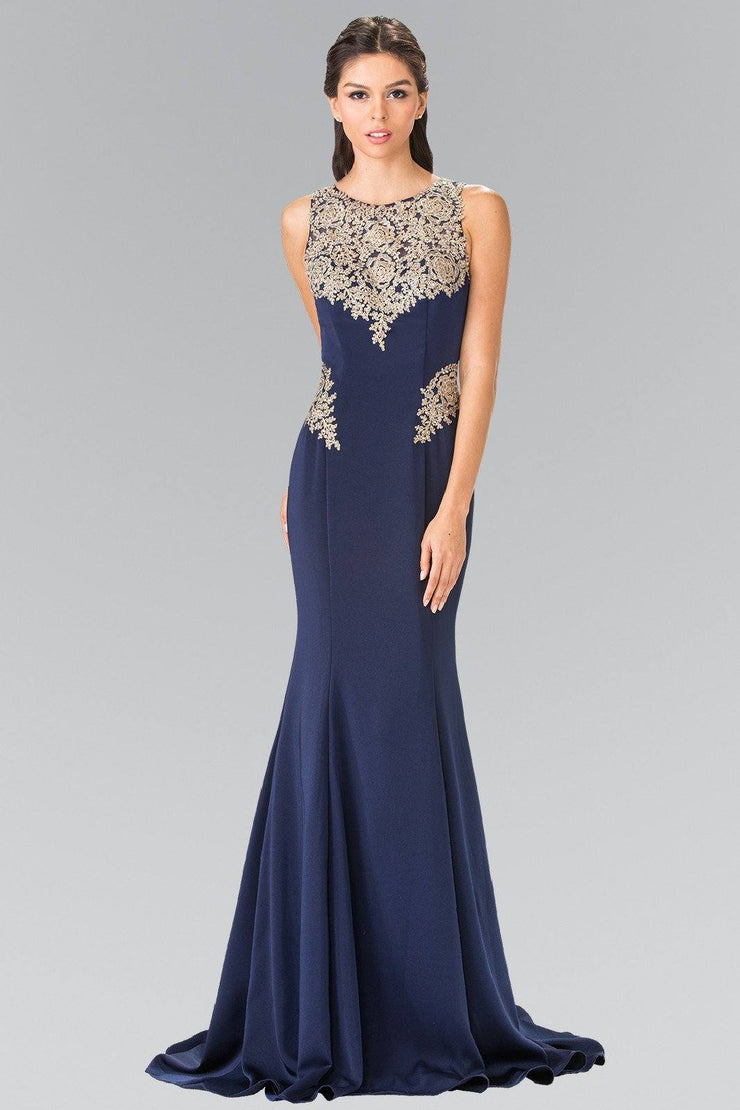 Long Sleeveless Embroidered Dress by Elizabeth K GL2312-Long Formal Dresses-ABC Fashion