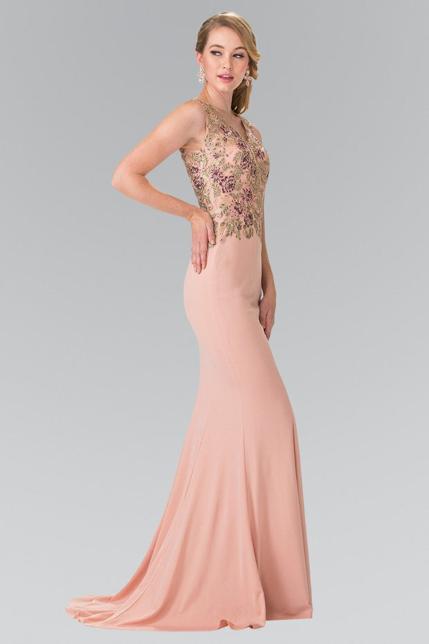 Long Sleeveless Floral Embroidered Dress by Elizabeth K GL2270-Long Formal Dresses-ABC Fashion