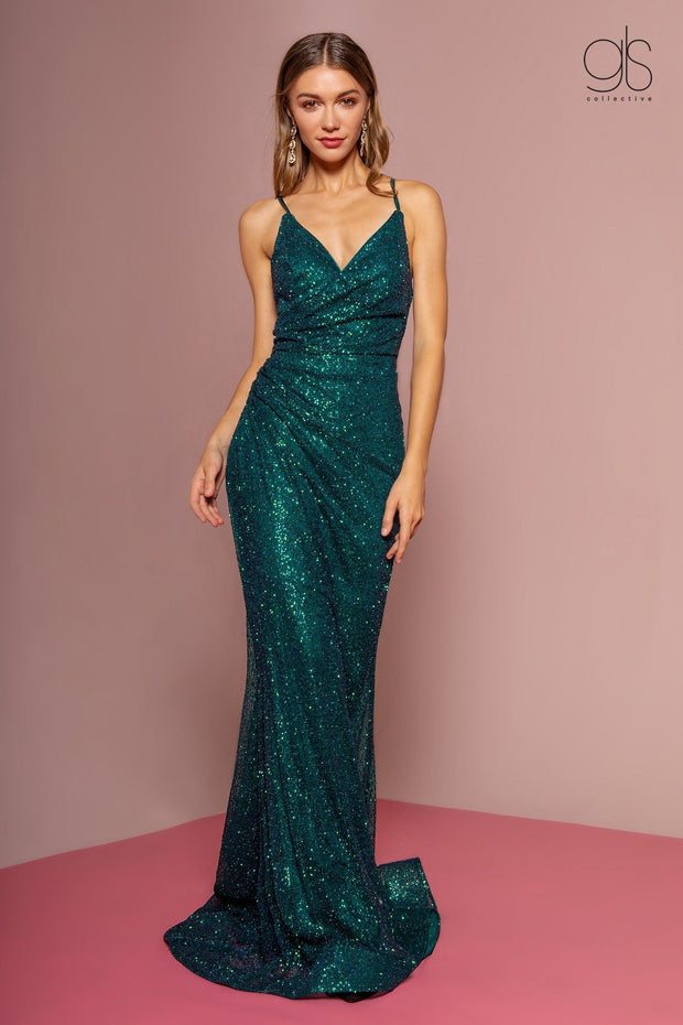 Long Sleeveless Glitter Dress with Corset Back by Elizabeth K GL2586-Long Formal Dresses-ABC Fashion