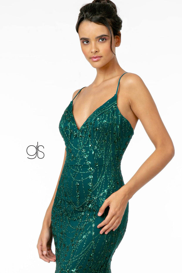 Long Sleeveless Glitter Mermaid Dress by Elizabeth K GL2965