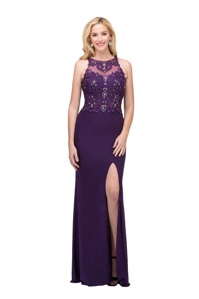 Long Sleeveless Illusion Dress with Applique Bodice by Star Box 6319-Long Formal Dresses-ABC Fashion