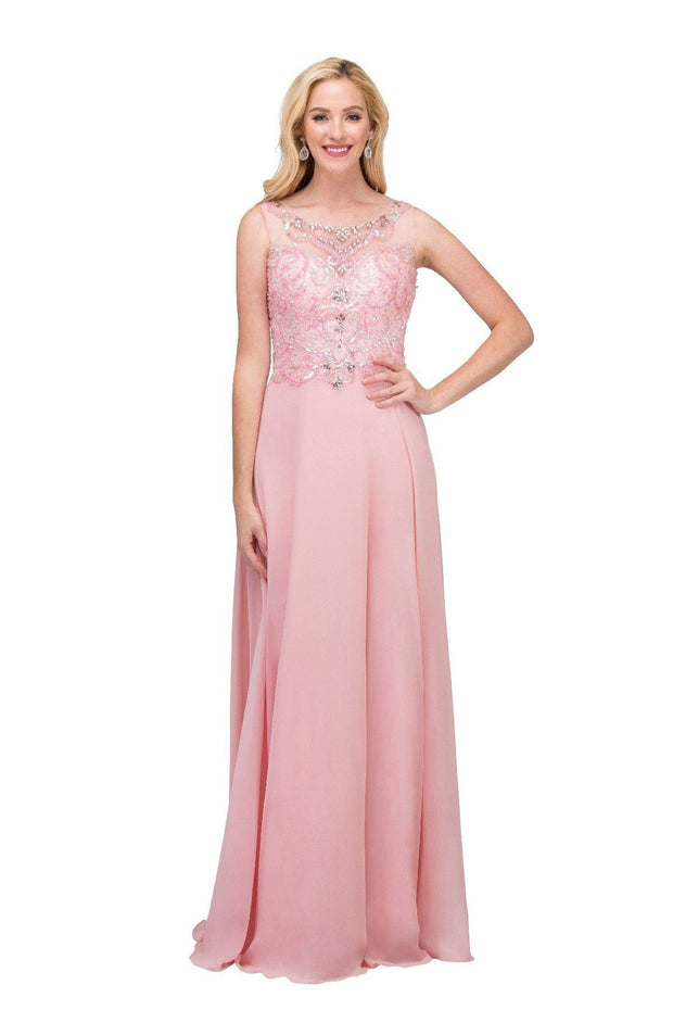 Long Sleeveless Illusion Dress with Beaded Bodice by Star Box 6315-Long Formal Dresses-ABC Fashion