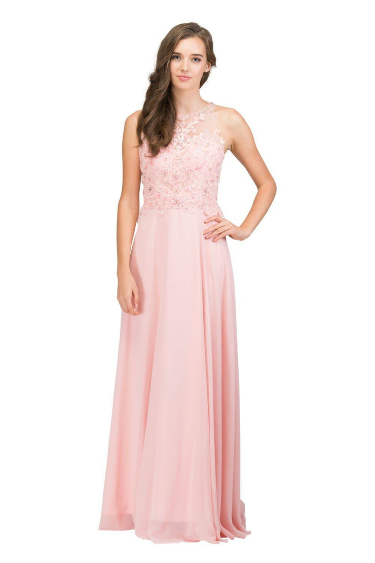 Long Sleeveless Illusion Dress with Embroidered Bodice by Star Box 6339-Long Formal Dresses-ABC Fashion