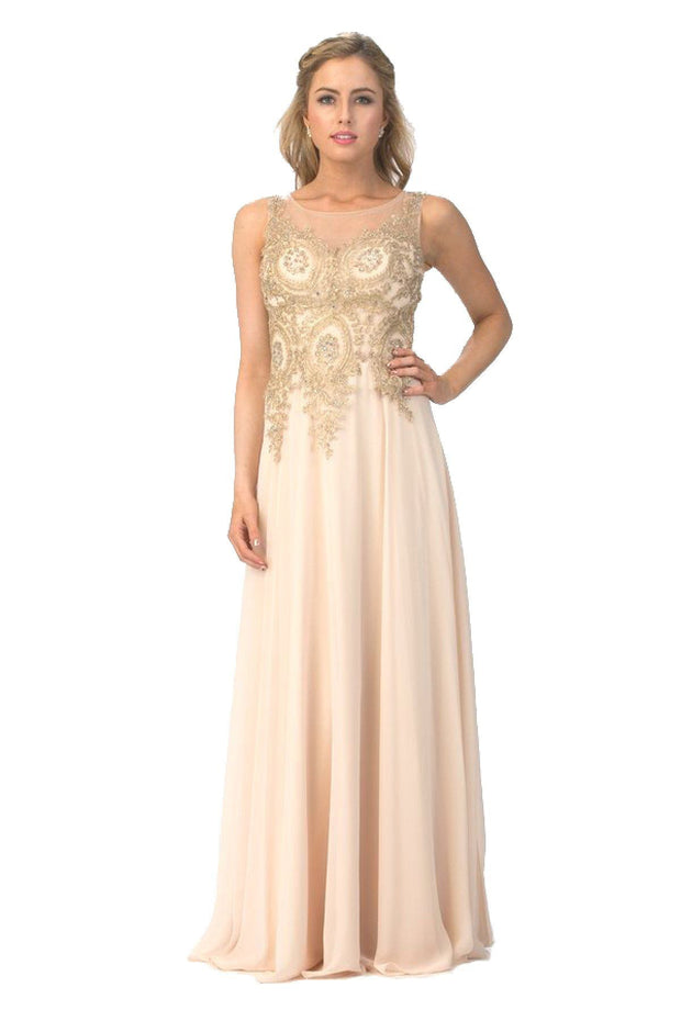 Long Sleeveless Illusion Dress with Gold Lace Applique Bodice by Star Box 6311-Long Formal Dresses-ABC Fashion