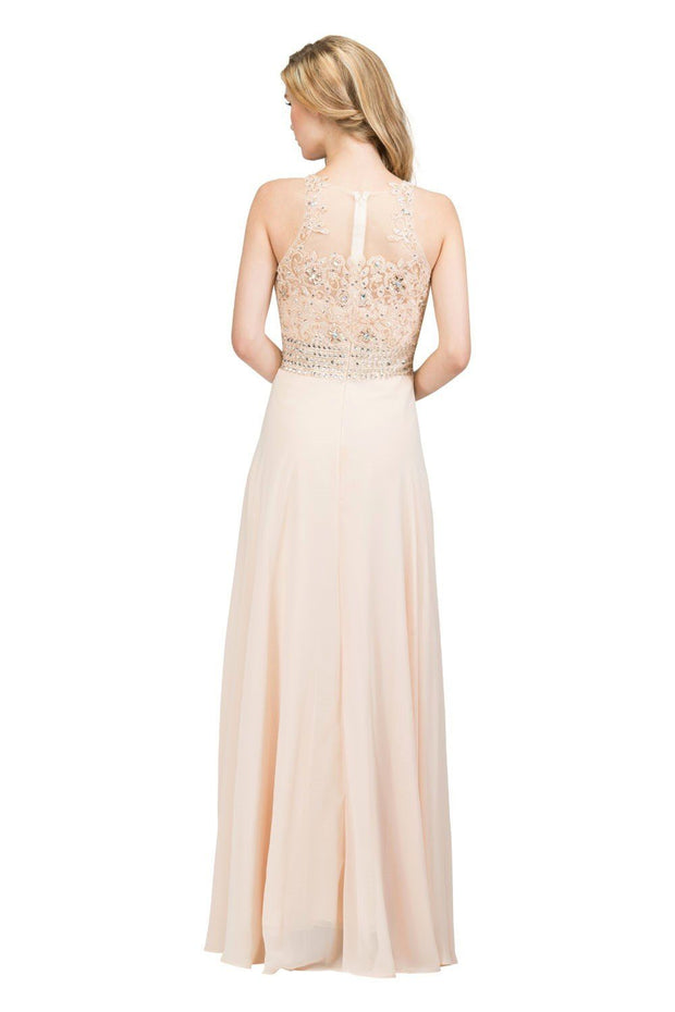 Long Sleeveless Illusion Dress with Lace Applique Bodice by Star Box 6338-Long Formal Dresses-ABC Fashion