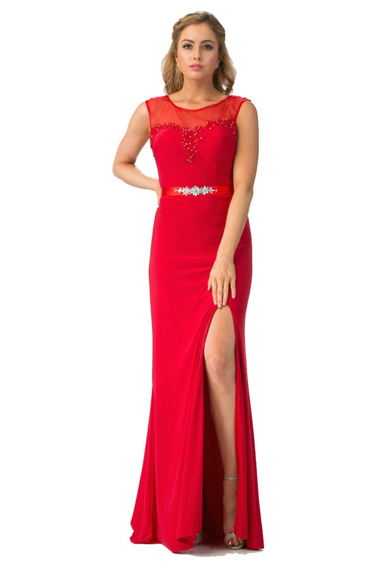 Long Sleeveless Illusion Dress with Slit by Star Box 6421-Long Formal Dresses-ABC Fashion