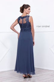 Long Sleeveless Illusion Lace Dress with Jacket by Nox Anabel 5107-Long Formal Dresses-ABC Fashion