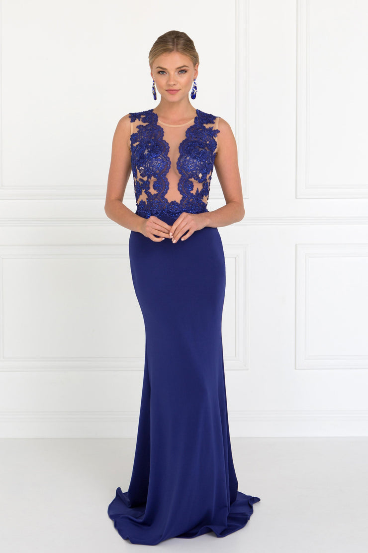 Long Sleeveless Lace Embellished Dress by Elizabeth K GL2286-Long Formal Dresses-ABC Fashion