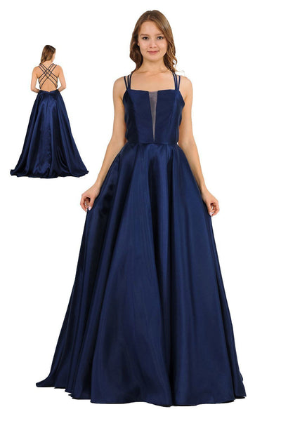 Long Sleeveless Mikado Dress with Strappy Back by Poly USA 8476-Long Formal Dresses-ABC Fashion