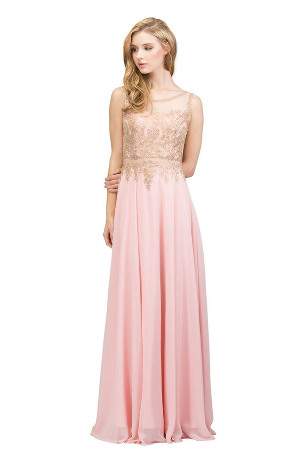 Long Sleeveless Mock Two Piece Dress with Gold Appliques by Star Box 17289-Long Formal Dresses-ABC Fashion
