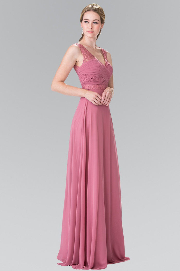Long Sleeveless Pleated Dress with Lace Accents by Elizabeth K GL2363-Long Formal Dresses-ABC Fashion