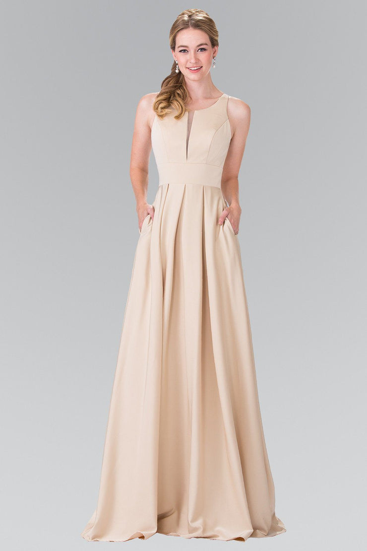 Long Sleeveless Pleated Dress with Sheer Panel by Elizabeth K GL2365-Long Formal Dresses-ABC Fashion