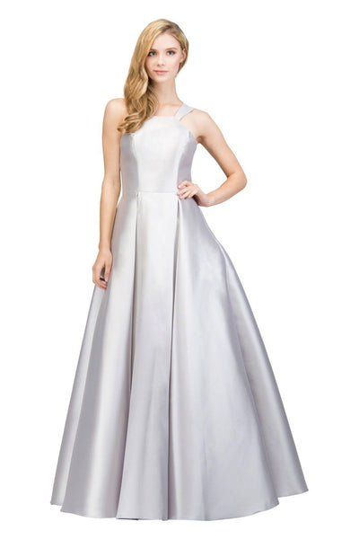 Long Sleeveless Satin Dress with Box Pleated Skirt by Star Box 17402-Long Formal Dresses-ABC Fashion