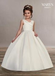 Long Sleeveless Satin Flower Girl Dress by Mary's Bridal MB9049-Girls Formal Dresses-ABC Fashion