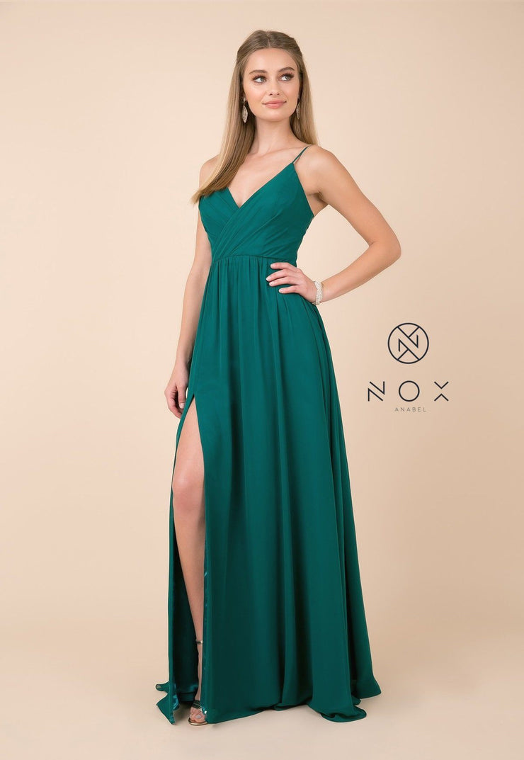 Long Sleeveless V-Neck Dress with Slit by Nox Anabel R275-Long Formal Dresses-ABC Fashion