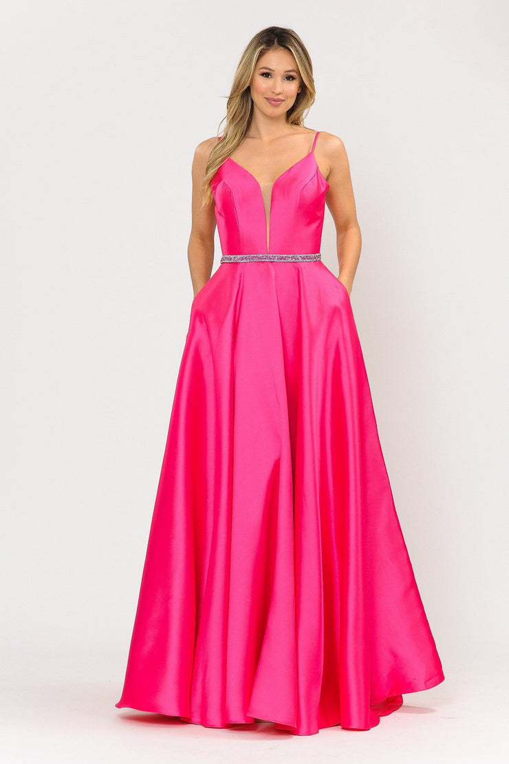 Long Spaghetti Strap Dress with Deep Neckline by Poly USA 8672