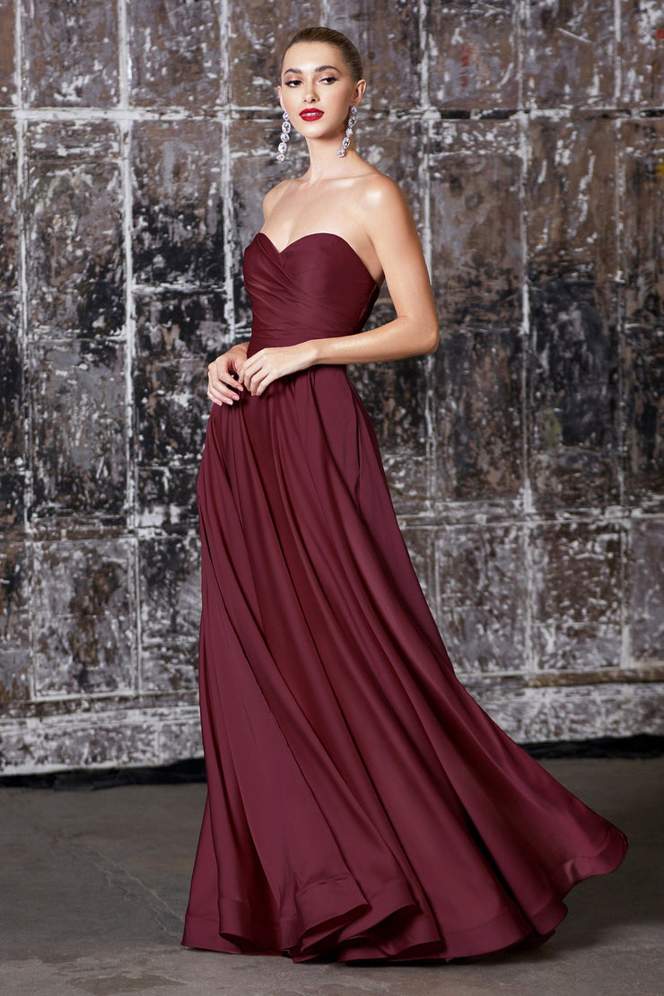 Long Strapless A-line Dress with Slit by Cinderella Divine CD0165