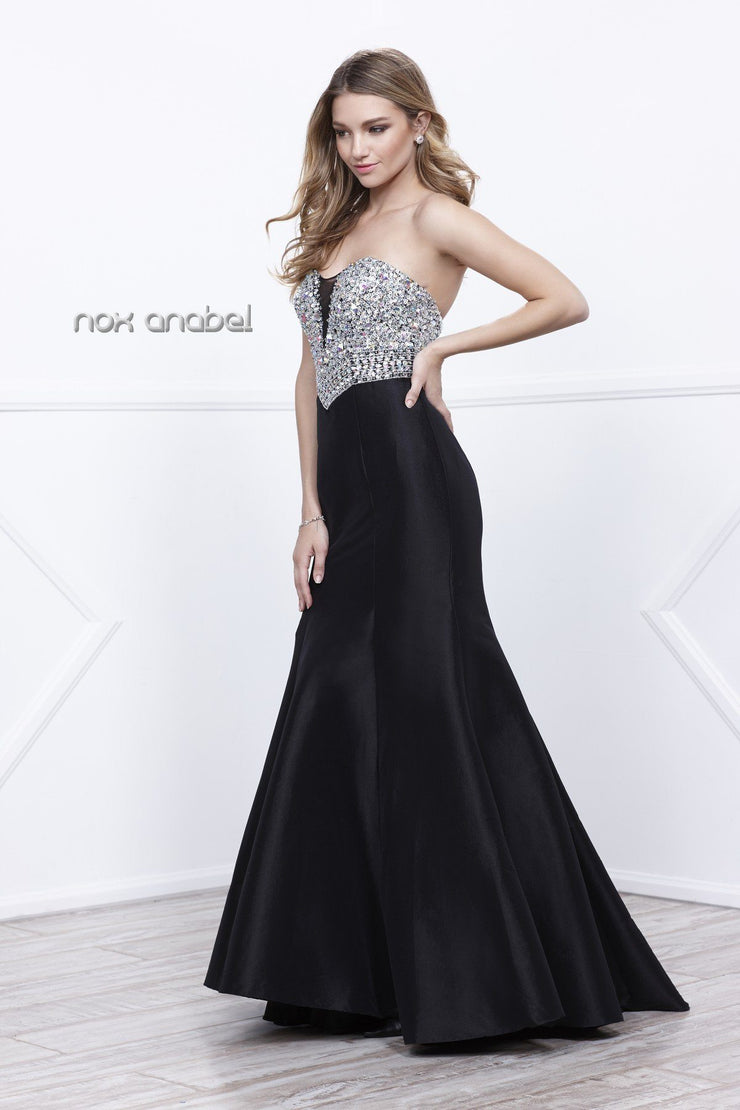 Long Strapless Beaded Mermaid Dress by Nox Anabel 8243-Long Formal Dresses-ABC Fashion