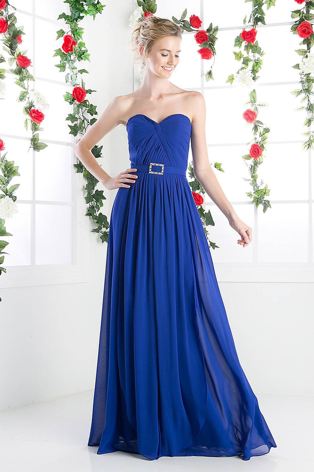 Long Strapless Chiffon A-line Dress by Cinderella Divine C7460-Long Formal Dresses-ABC Fashion