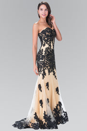 Long Strapless Dress with Beaded Floral Lace by Elizabeth K GL2005-Long Formal Dresses-ABC Fashion