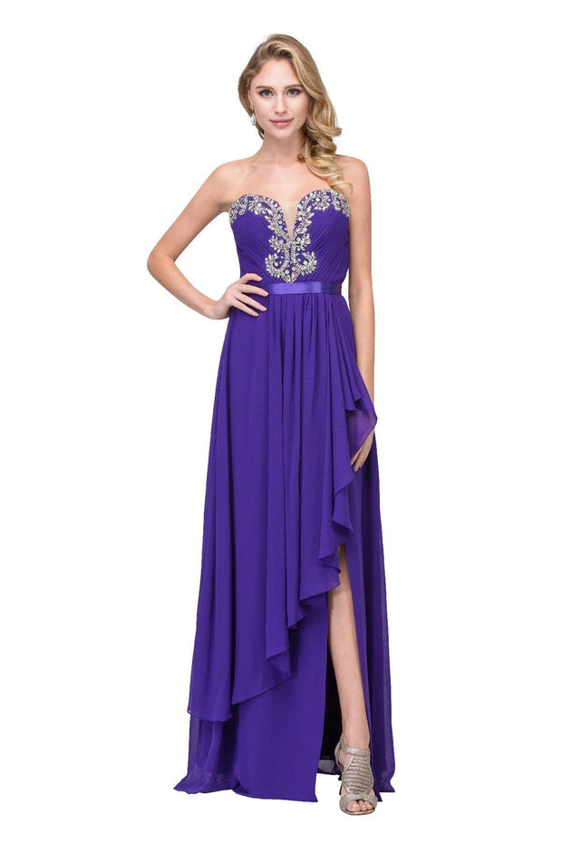Long Strapless Dress with Beaded Sweetheart Bodice by Star Box 6078-Long Formal Dresses-ABC Fashion