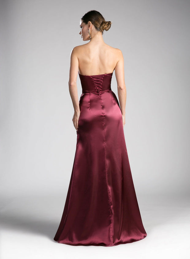 Long Strapless Dress with Corset Back by Cinderella Divine CF290-Long Formal Dresses-ABC Fashion