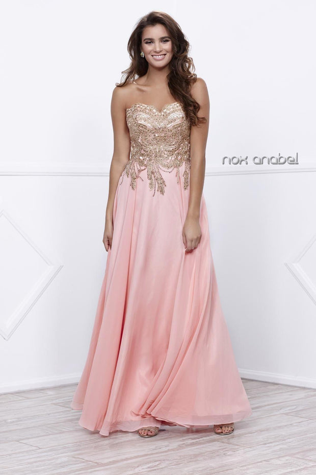 Long Strapless Dress with Gold Lace Applique by Nox Anabel 8291-Long Formal Dresses-ABC Fashion
