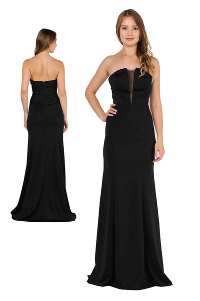 Long Strapless Dress with Illusion Panel by Poly USA 8488-Long Formal Dresses-ABC Fashion