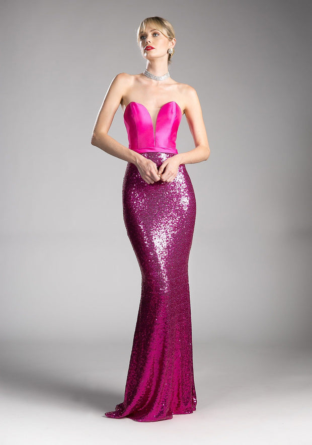 Long Strapless Dress with Sequined Skirt by Cinderella Divine JS0407-Long Formal Dresses-ABC Fashion