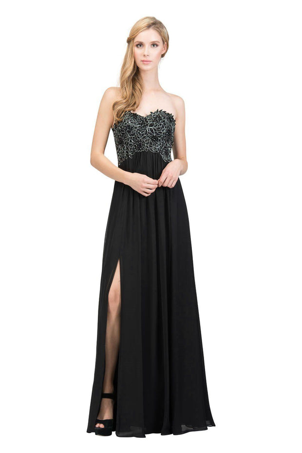 Long Strapless Empire Waist Dress with Slit by Star Box 6051-Long Formal Dresses-ABC Fashion