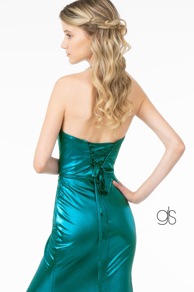 Long Strapless Faux Wrap Metallic Dress by Elizabeth K GL2894