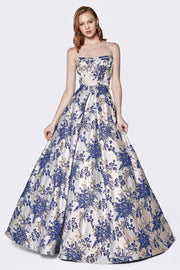 Long Strapless Floral Print Dress by Cinderella Divine CS026-Long Formal Dresses-ABC Fashion