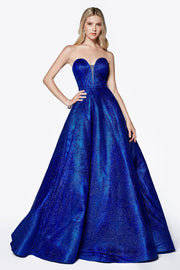 Long Strapless Glitter Dress with Corset Back by Cinderella Divine CB0033